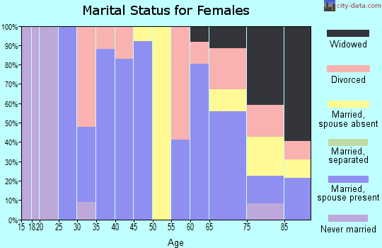 Zip code 03864 marital status for females
