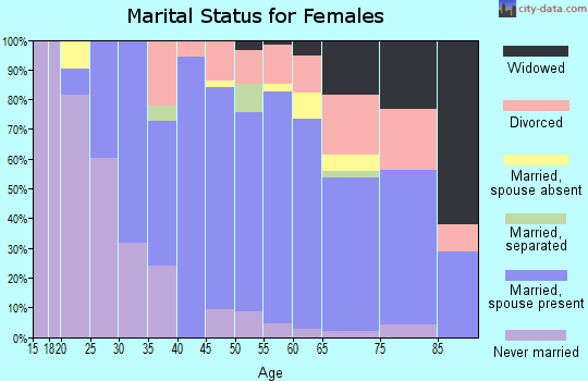 Zip code 03909 marital status for females