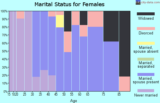 Zip code 05343 marital status for females