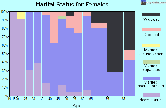 Zip code 05363 marital status for females
