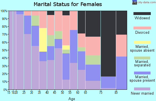 Zip code 06607 marital status for females