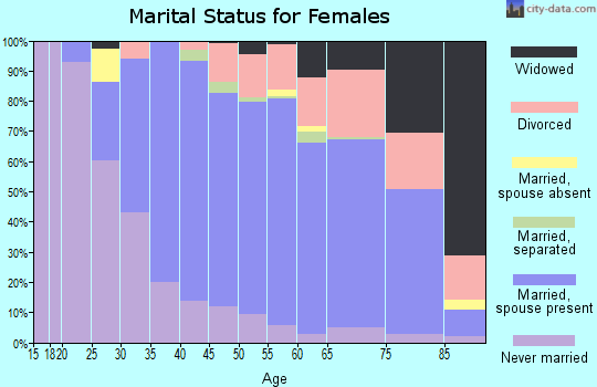 Zip code 08033 marital status for females