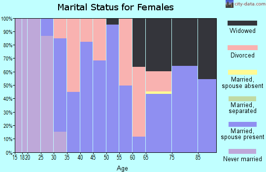 Zip code 13308 marital status for females