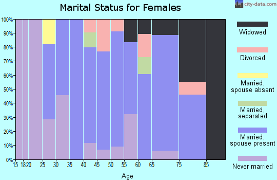 Zip code 13403 marital status for females