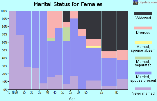 Zip code 13635 marital status for females