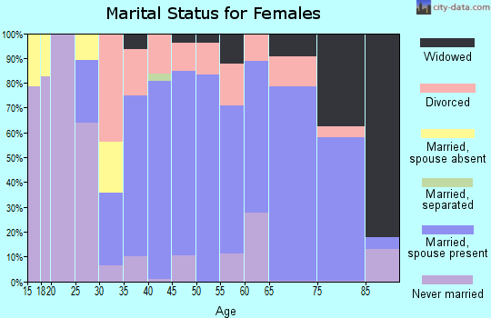 Zip code 14001 marital status for females