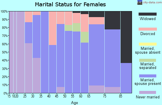 Zip code 14481 marital status for females