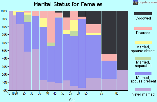 Zip code 14485 marital status for females