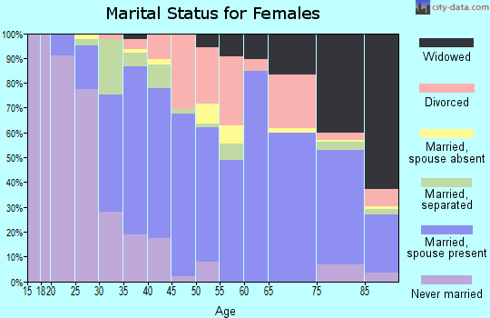 Zip code 14590 marital status for females