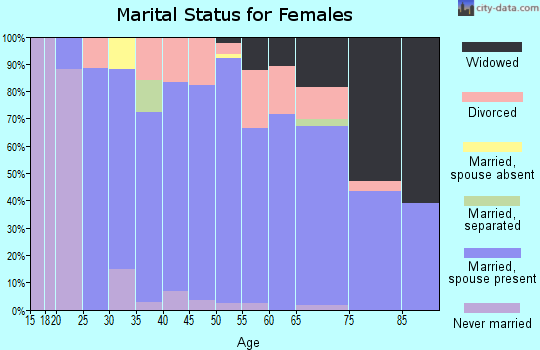 Zip code 14724 marital status for females