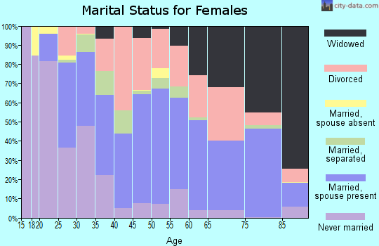 Zip code 14904 marital status for females