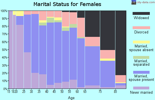 Zip code 15009 marital status for females