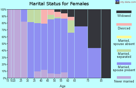 Zip code 15026 marital status for females