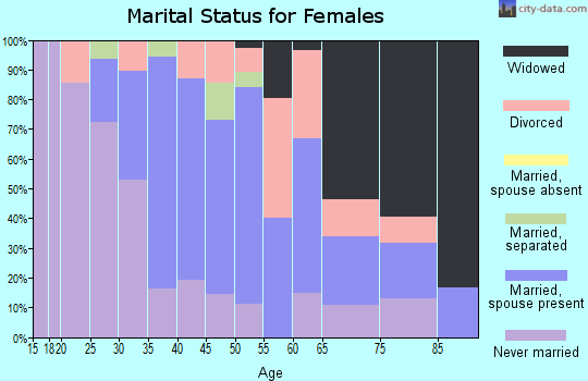 Zip code 15045 marital status for females