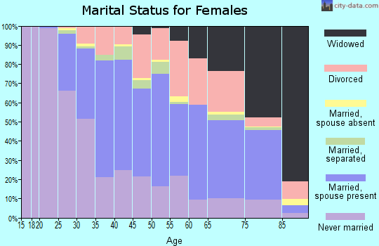 Zip code 15205 marital status for females