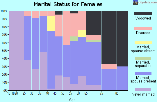 Zip code 15223 marital status for females