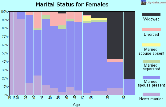 Zip code 15312 marital status for females