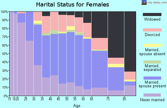 Zip code 15401 marital status for females