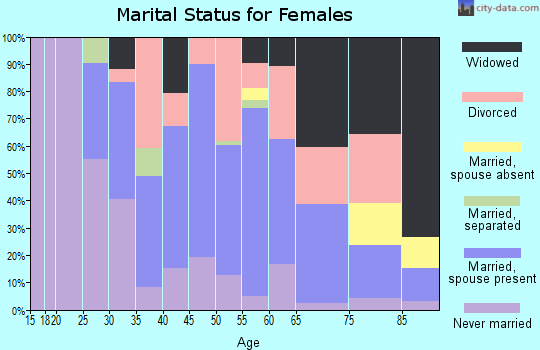 Zip code 15461 marital status for females