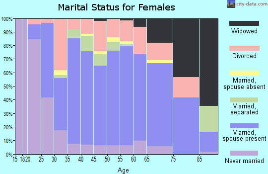 Zip code 16401 marital status for females