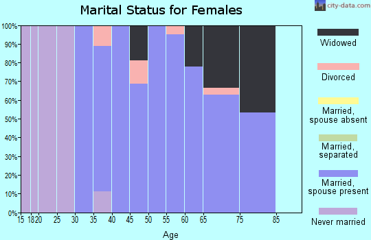 Zip code 16683 marital status for females