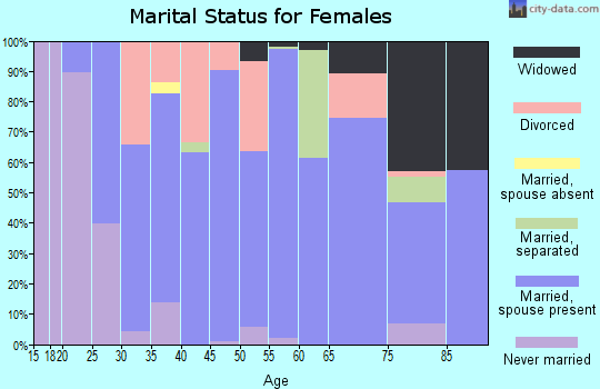 Zip code 16828 marital status for females