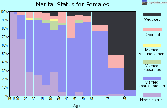 Zip code 16841 marital status for females