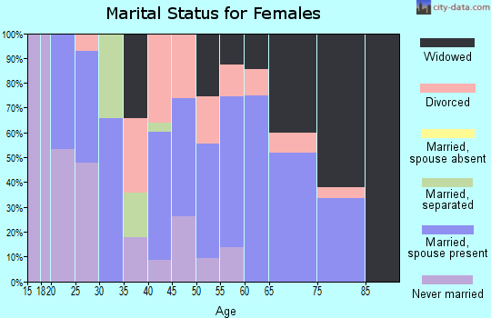 Zip code 17009 marital status for females