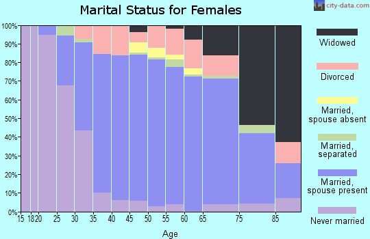 Zip code 17036 marital status for females