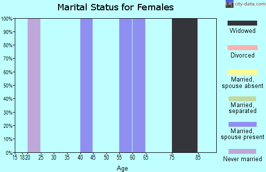 Zip code 17083 marital status for females