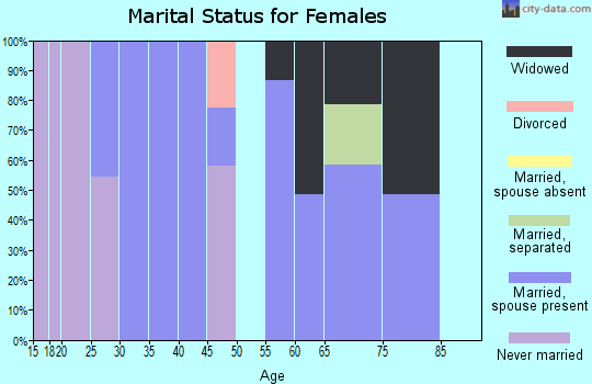 Zip code 17099 marital status for females