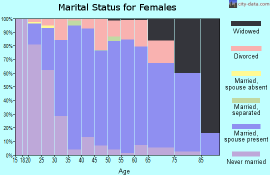 Zip code 17327 marital status for females