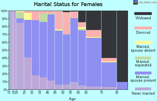 Zip code 17820 marital status for females