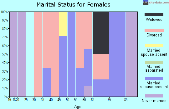 Zip code 17884 marital status for females