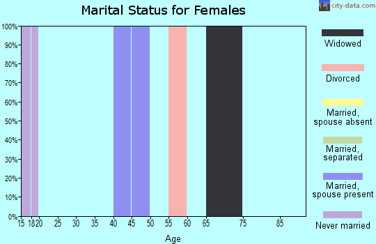 Zip code 18079 marital status for females