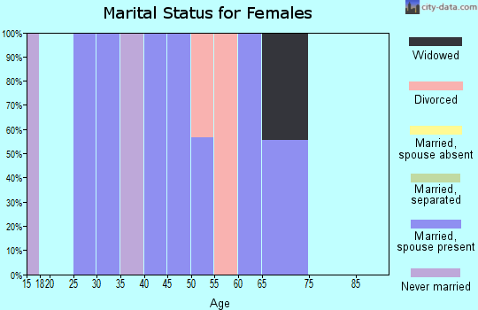 Zip code 18087 marital status for females