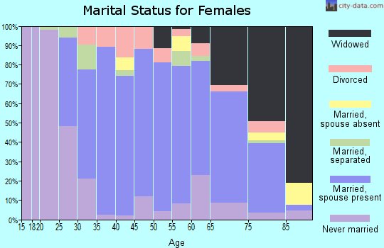 Zip code 18255 marital status for females