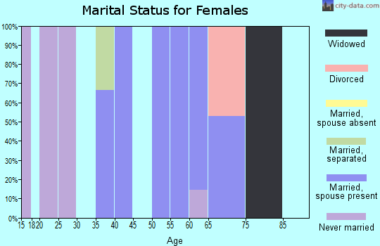 Zip code 18256 marital status for females