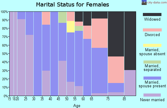 Zip code 18322 marital status for females