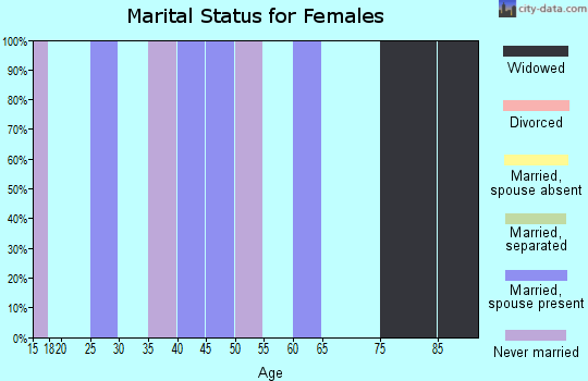 Zip code 18333 marital status for females