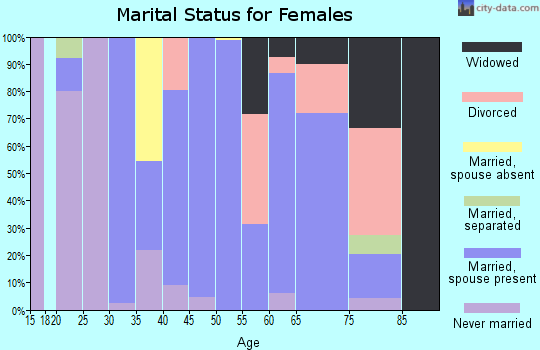 Zip code 18343 marital status for females