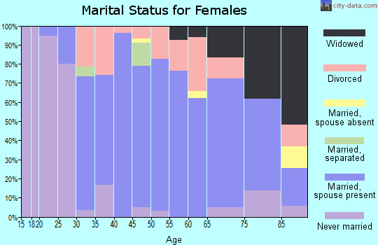 Zip code 18353 marital status for females