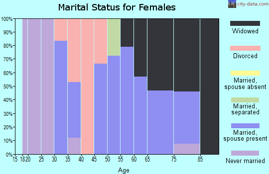 Zip code 18439 marital status for females