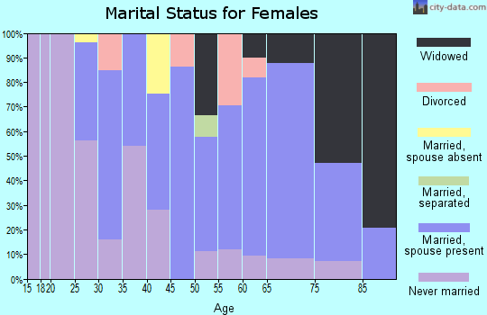 Zip code 18507 marital status for females