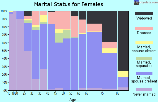 Zip code 18801 marital status for females
