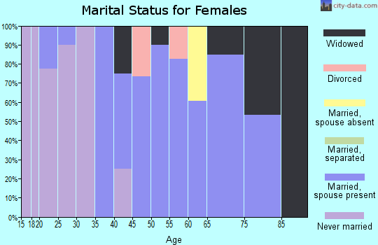 Zip code 18942 marital status for females