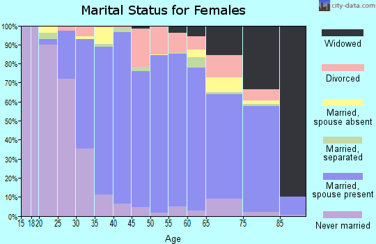 Zip code 18976 marital status for females