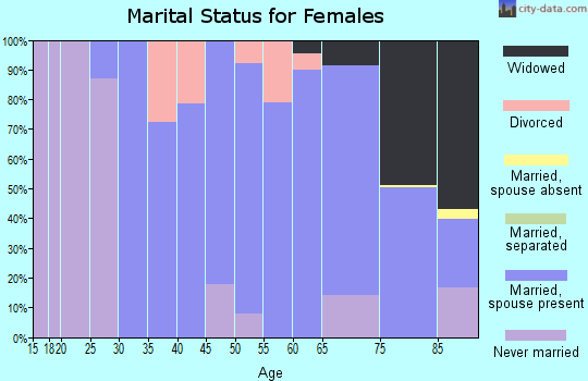 Zip code 19035 marital status for females