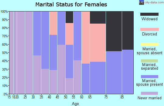 Zip code 19043 marital status for females