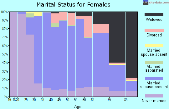 Zip code 19064 marital status for females